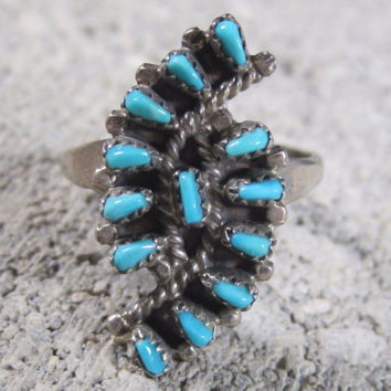 Vintage Zuni Turquoise Ring Sterling Size 6.5
