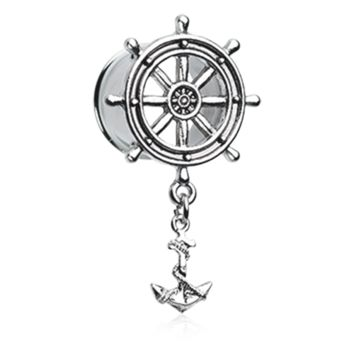 Classic Anchor Wheel with Dock Ear Gauge Tunnel Plug Surgical Steel