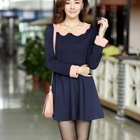 Kawaii Lolita Slim Fit Long Sleeve Dress - Pink or Navy - S M L from Tobi's Finds