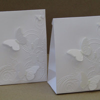 12 Bridal Shower Favor Bags, White Elegant Butterfly Wedding Bag