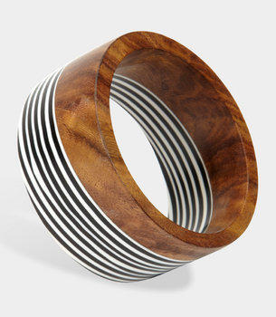 Wood and Striped Resin Bangle