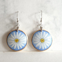 White Marguerite Daisy Earring, Sterling Silver Daisy Dangle Earrings, Hand Painted Earrings, 925 Sterling Silver Ear Wire