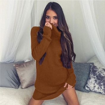Mini Dresses Bodycon Casual Dress Autumn Winter Casual Women Knitted O-Neck Full Regular Sexy A-Line Solid Sweater