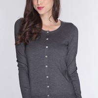 Charcoal Button Up Long Sleeve Cardigan Sweater