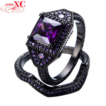 Fine Jewelry Amethyst Sapphire Purple AAA Zircon Wedding Finger Rings 2 pcs Lady's bijoux 18KT Black Gold Filled Ring RB0125