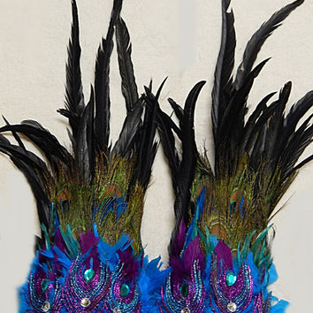 Peacock Feather LEG Cuffs  Adult Unisex Leg Bands  Tribal Dance Samba