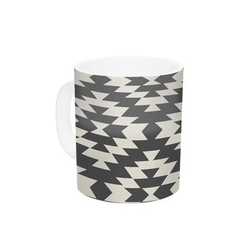 "Amanda Lane ""Navajo Black Cream"" Tribal Geometric Ceramic Coffee Mug"