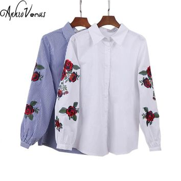 Rose Floral Embroidery Striped Blouse Women Long Sleeve Shirt Casual Cotton Blusa Plus Size kimono Tops Office Lady Blusas 2017