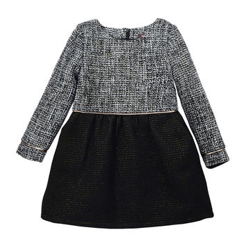 Sophia Long-Sleeve Tweed A-Line Dress, Black/White, Size 8-14,