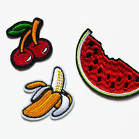 Patches Set - 3 Tropical Patches - Watermelon Patch - Cherry Patches - Cherries Patch Rockabilly Patch - Banana Patch - Iron On Patch Set