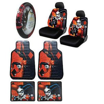 Licensed Official New Harley Quinn Car Truck Front Seat Covers & Floor Mats & Steering Wheel Cover