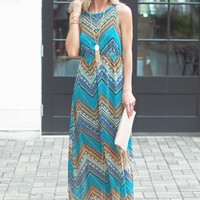 Green Tribal Print Maxi Dress - Open Back Maxi Dress - $75.00 | Hand In Pocket Boutique