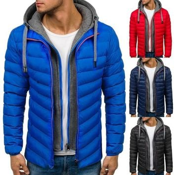 ZOGAA Winter Coat Men Casual Hoodied Bubble Cotton Padding Parka Clothing Winter Jacket Men