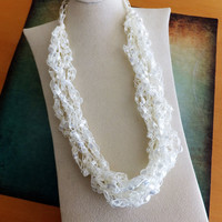White Color Trellis Ribbon Ladder Yarn Necklace Adjustable 16 to 24""