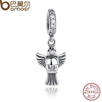 Original 925 Sterling Silver Dove Of Peace Pendant Charms Fit Bracelet & Necklace Animal Jewelry PAS166