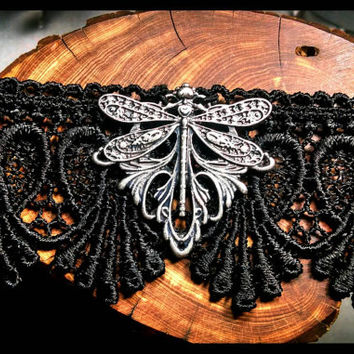 RTS Handmade Dragonfly Choker, Black Lace Choker, Handcrafted Antique Silver Necklace, Gothic Ren Faire Larp Jewelry Gift Custom Length