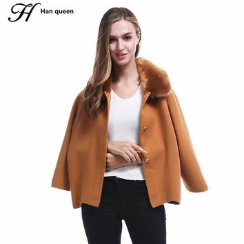 H Han Queen Fur Collar Cardigan Autumn Winter Women Sweater Thick Elasticity Knitting Coat Cardigans Loose Casual Female Poncho