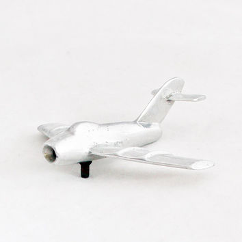 1950s Art Deco Miniature Airplane Mig 17 Soviet Aircraft Metal Industrial Home Decor