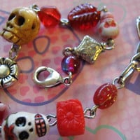 Day of the Dead Red Skull Bracelet