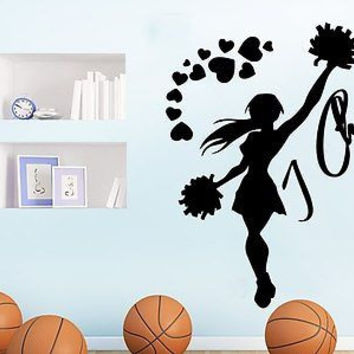I Cheer Wall Decal Sports Girl Cheerleader Sport Wall Decals Vinyl Stickers C287