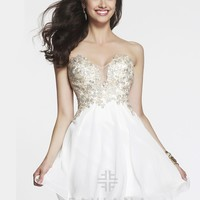 Faviana Glamour S7436 - Ivory Strapless Lace Prom Dresses Online