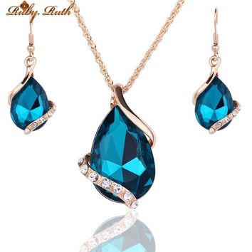 Jewelry Sets For Women Wedding Bridal Dress Accessories Water Drop Crystal Necklace Earrings Set 18K Gold Plated  Party 2016