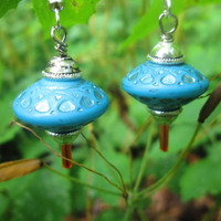 UFO Earrings / Flying Saucer /  Vintage Lucite Beads / Blue / Silver / Kitsch Earrings  / 50s Retro /  SciFi / Geekery / We Come in Peace