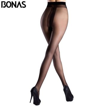 BONAS T Crotch Sexy Nylon Style Spandex Lolita Black Stockings
