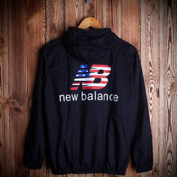 Fashion Unisex NEW BALANCE Hooded Windbreaker Jacket