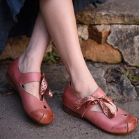 Handmade Retro Leather Flats For Women With Silk Ribbon Pink