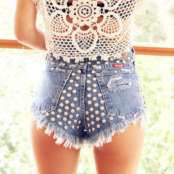 SALE Customize Studded High Waisted Shorts Free Shipping