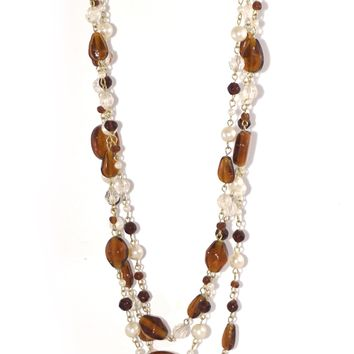 ZAD Multi-Strand Faux-pearl and Glass Bead Layered Necklace