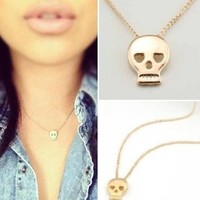 Dainty Skullie Love Gold Plated Necklace from p.s. I Love You More Boutique