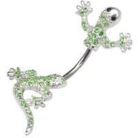 Lt Green Peridot Cubic Zirconia Lizard Gecko 2 piece split Look like Lizzy goes through Belly button navel Ring piercing bar body jewelry 14g 14 gauge