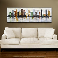 Large Abstract Painting city 20 x 60 original modern urban painting cream earth tones oil painting abstract schilderij