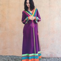Vintage 70s Josefa Rainbow Priestess Dress