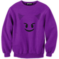 Emoji Purple Devil Crewneck