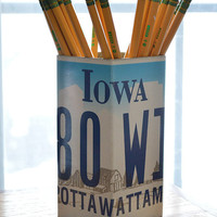 Iowa License Plate Pencil Holder - Pencil Cup - Unique Pencil Cup - Desk Accessories - Office Decor - Desk Organizer - Pen Holder - Pen Cup
