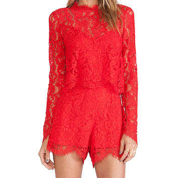 SAYLOR Savannah Romper in Red