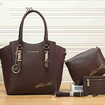 MK Michael Kors New Fashion Leather Women Shoulder Bag Handbag Shopping Bag Crossbody Satchel Three Piece Set Coffee