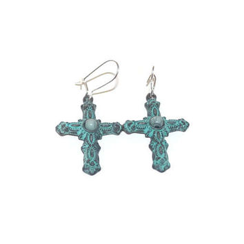 Blue Cross Earrings, Patina Cross Earrings, Earrings With Cross, Earrings With Kidney Hooks