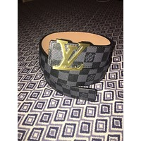 Louis Vuitton LV Belt Mens Checkerboard Black/Grey