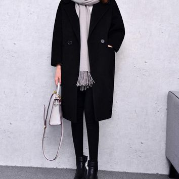 Brown Wool Coat With Pad Lining Warm Thick Casual Long Oversize Overcoat Autumn Winter 2016 New Women's Wool Coats Light Grey