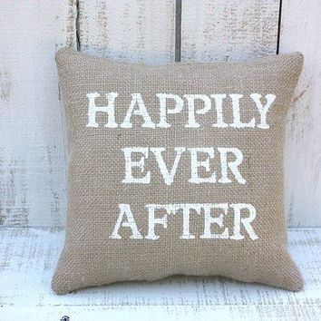Happily ever after burlap pillow by victorianstation on Etsy