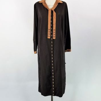 Vintage 1920s Brown Wool And Silk Flapper Dress