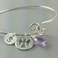 Sterling Silver Bangle Bracelet, Birthstone Bangle, Angel Bracelet, Amethyst Bracelet, Initial Bangle, Christmas Gift, Unique Gift, For Her