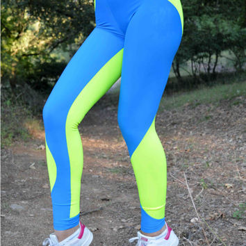 Handmade Blue - Neon Yellow Leggings Geometric Shapes Athletic Bottoms Gym Clothes Stretch Leggings Spandex Fabric Leggings Halloween Gift