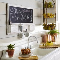 Whitewashed Chalkboard Wall Organizer