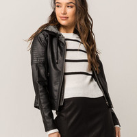 IVY & MAIN Knit Hood Womens Faux Leather Moto Jacket