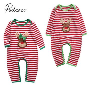 2019 Baby Spring Autumn Clothing Newborn Baby Girl Boy Christmas Clothes Deer Striped Romper Long Sleeve Fuzzy Embroidery Outfit